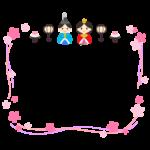 お雛さまとお花のリボン風フレーム・枠イラスト