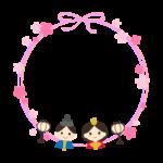 お雛さまとお花のリボン風円形フレーム・枠イラスト