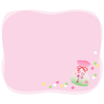 袋に入ったひなあられのピンク色のフレーム・枠イラスト