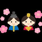 かわいいお雛さまとお内裏さまの顔と梅の花のイラスト