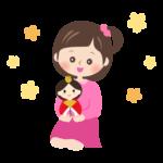 お雛さまを持った女の子のイラスト
