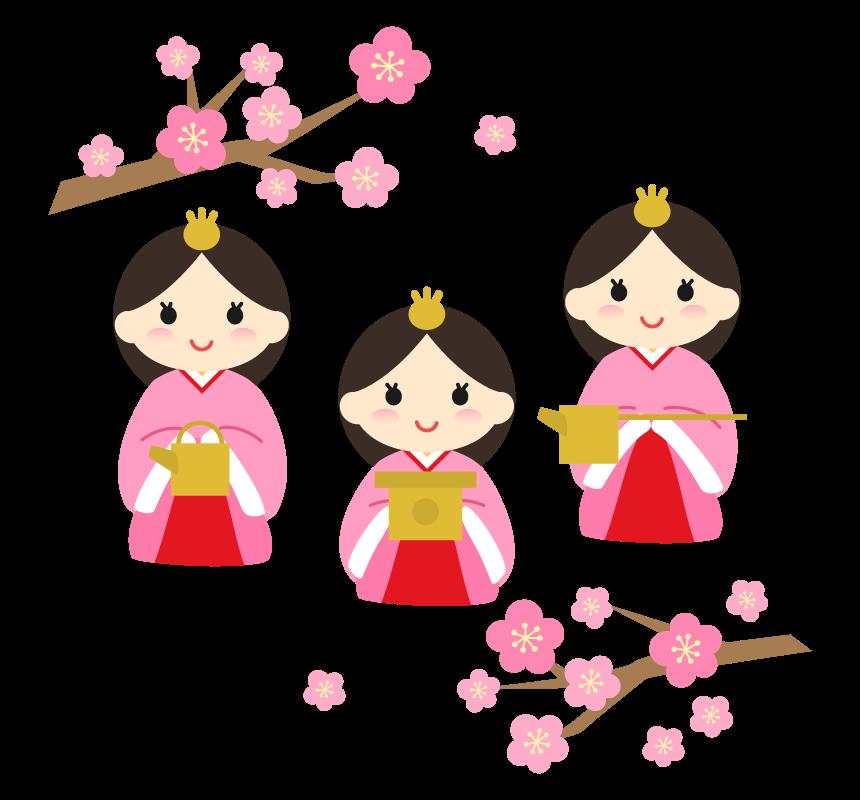 かわいい三人官女と梅の花のイラスト