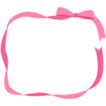 ピンク色のリボンの囲みフレーム・枠イラスト