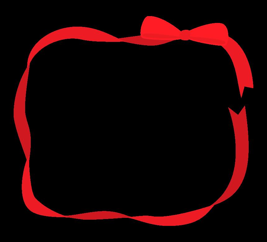 赤いリボンの囲みフレーム・枠イラスト