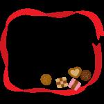 赤いリボンとクッキーのフレーム・枠イラスト