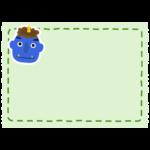 節分・青鬼の緑色フレーム・枠イラスト