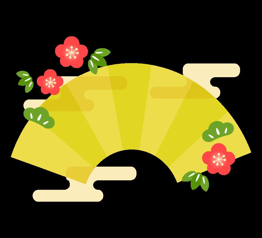 松竹梅と金色の扇子のフレーム・枠イラスト