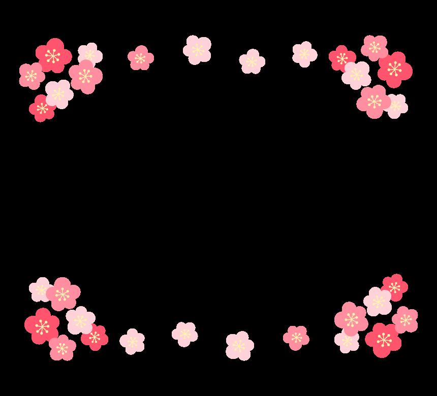 梅の花のフレーム・枠イラスト_01