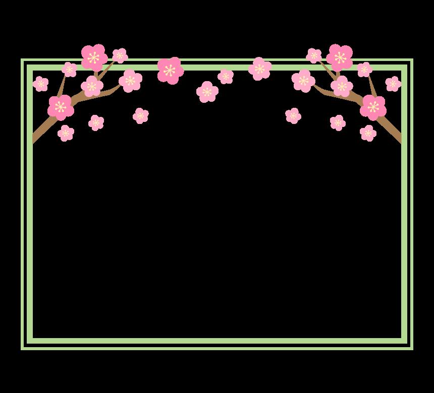 梅の花と枝の黄緑色の二重線フレーム・枠イラスト