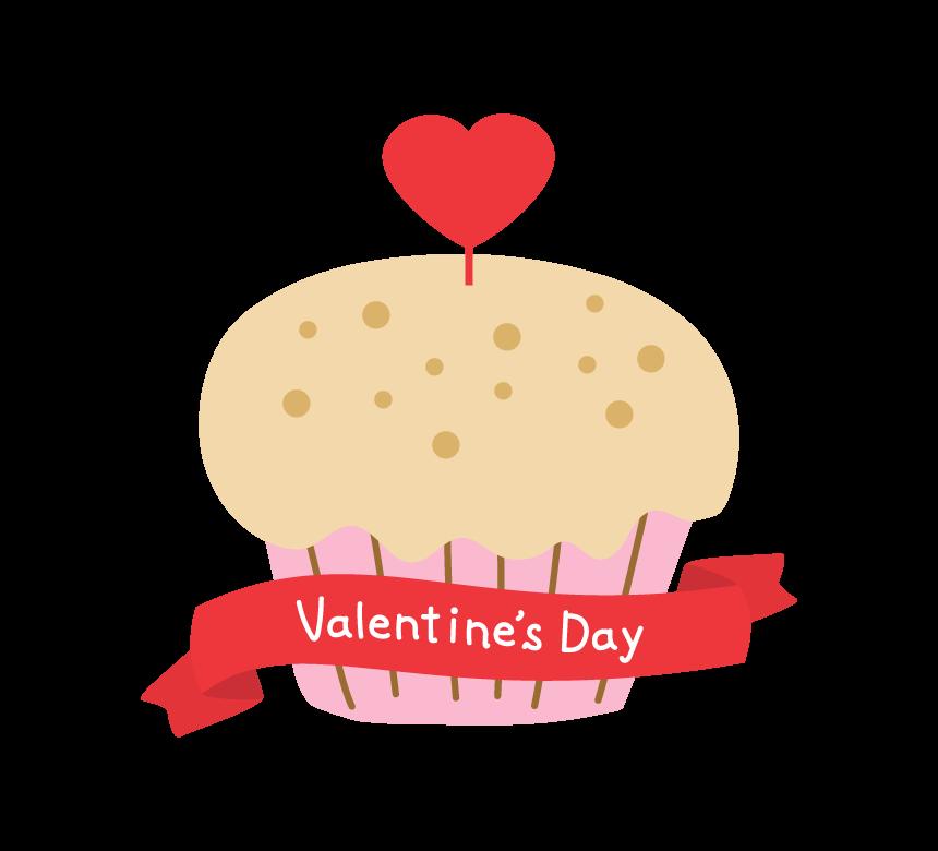ハートのカップケーキと「Valentine's Day」のイラスト