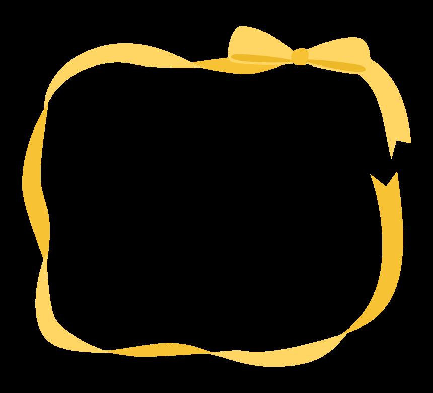 黄色いリボンの囲みフレーム・枠イラスト