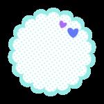 ブルー系の円形もこもこ水玉フレーム・枠イラスト
