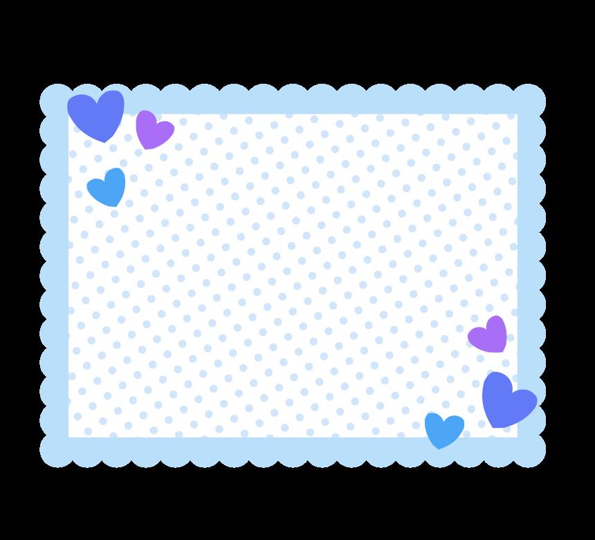 ブルー系の四角いもこもこ水玉フレーム・枠イラスト