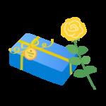 父の日・黄色いバラとプレゼントのイラスト
