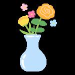 花瓶に生けたお花のイラスト
