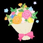 カラフルなお花の花束のイラスト