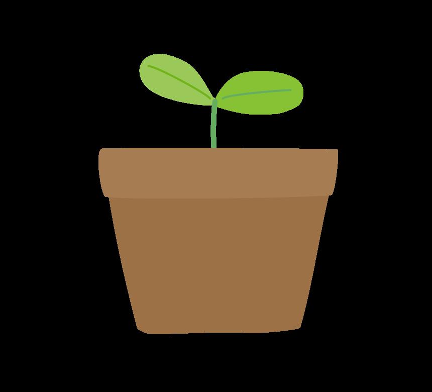 植木鉢と双葉のイラスト