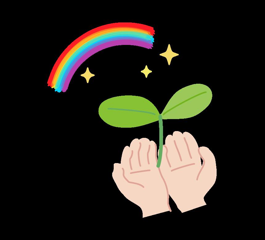 双葉を乗せた両手と虹のイラスト