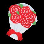 真っ赤なバラの花束のイラスト