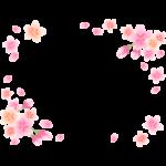 ふんわりとした桜の花と蕾のフレーム・枠イラスト