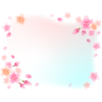 ふんわりとした桜の花と蕾のフレーム・枠イラスト02
