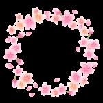 ふんわりとした桜の花と蕾の円形フレーム・枠イラスト