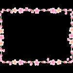 ふんわりとした桜の花と蕾の囲みフレーム・枠イラスト