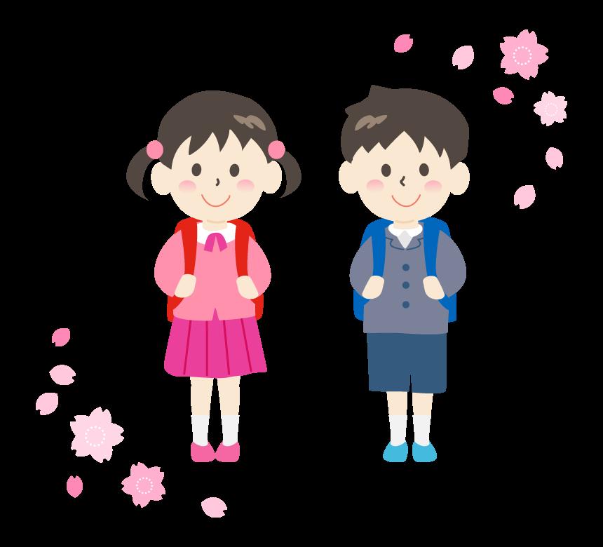 ランドセルを背負った小学生と桜のイラスト