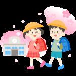 ランドセルを背負って学校に通学する小学生と桜のイラスト