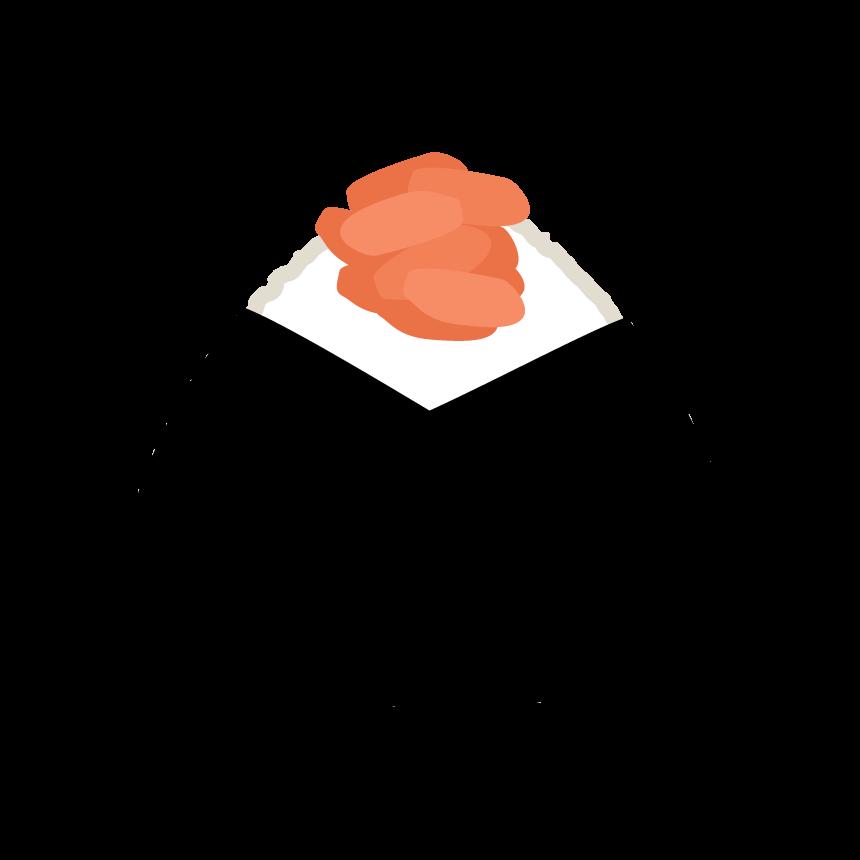 鮭のおにぎりのイラスト