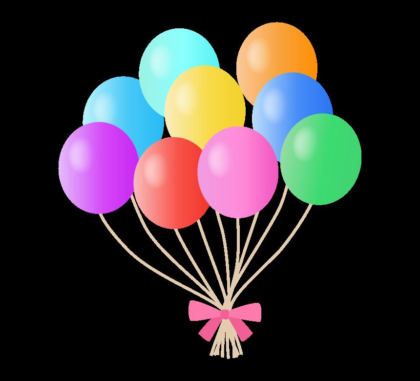 束ねたカラフルな風船のイラスト
