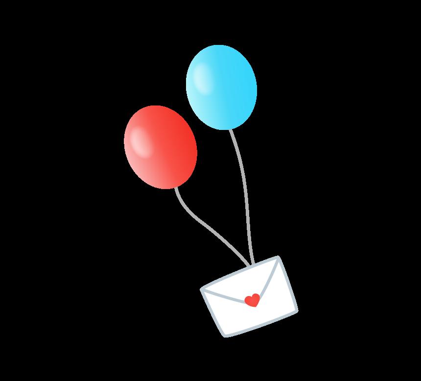 手紙をつけた赤と水色の風船のイラスト