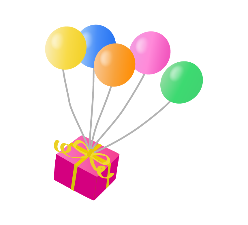 プレゼントをつけた風船のイラスト