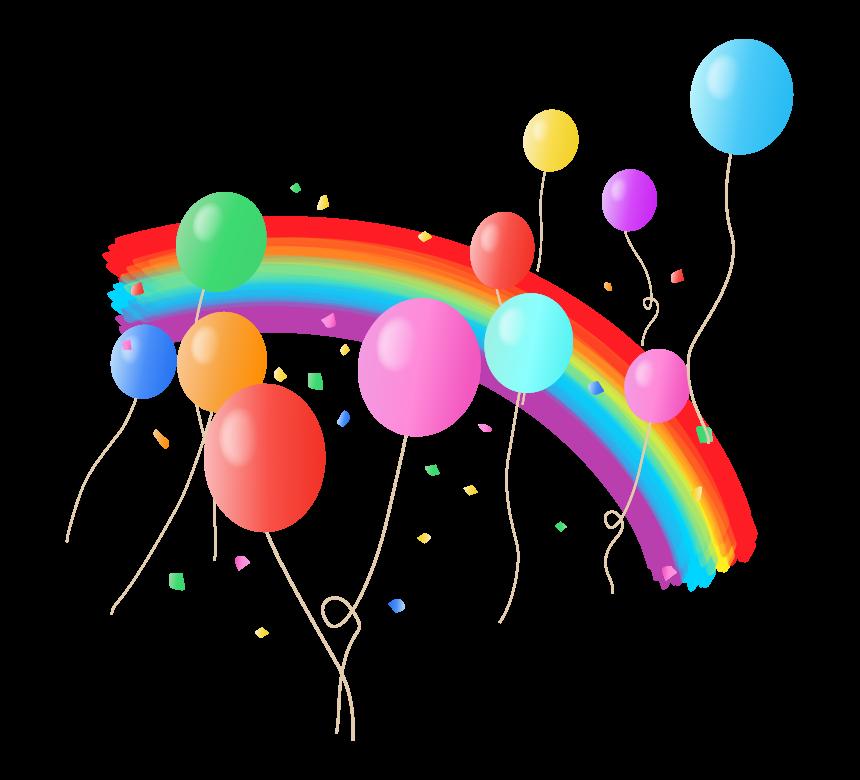 虹とカラフルな風船と紙吹雪のイラスト