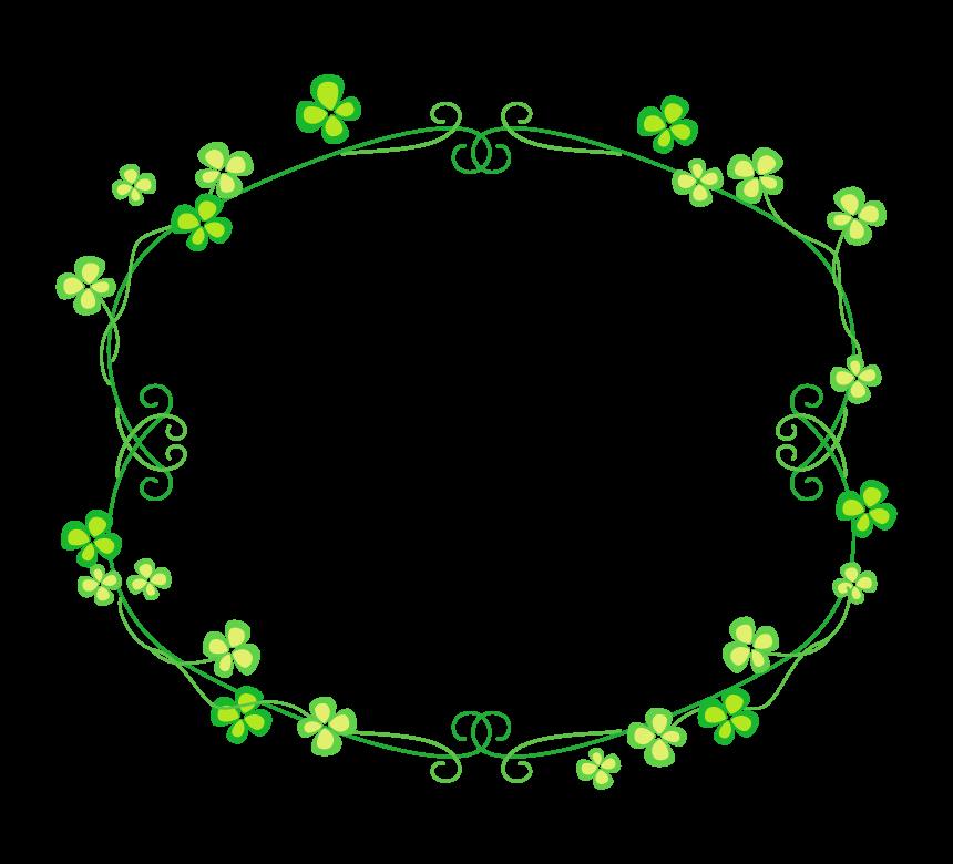 四つ葉のクローバーの囲み飾りフレーム・枠イラスト