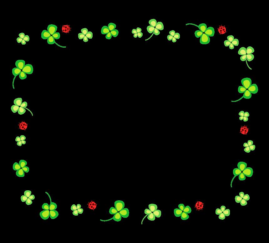 四つ葉のクローバーとテントウムシの囲みフレーム・枠イラスト