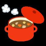 赤いお鍋とカレーのイラスト