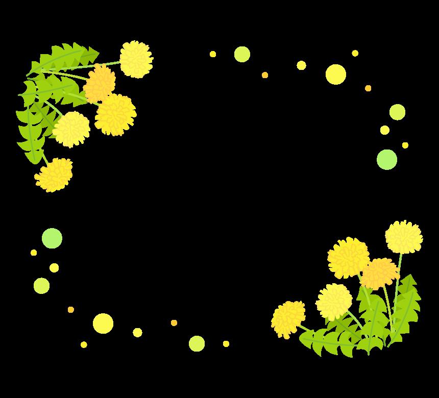 たんぽぽとふんわりとした水玉のフレーム・枠イラスト