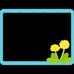 たんぽぽの水色レース風の四角いフレーム・枠イラスト