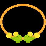 たんぽぽとオレンジ色レース風の楕円フレーム・枠イラスト