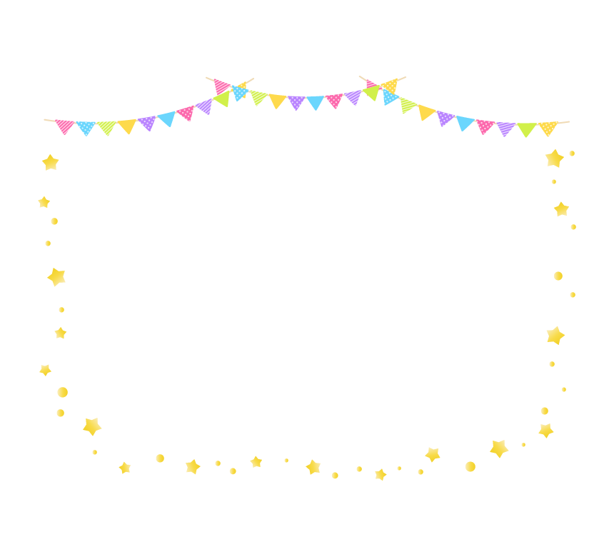 フラッグガーランドと星のフレーム・枠イラスト