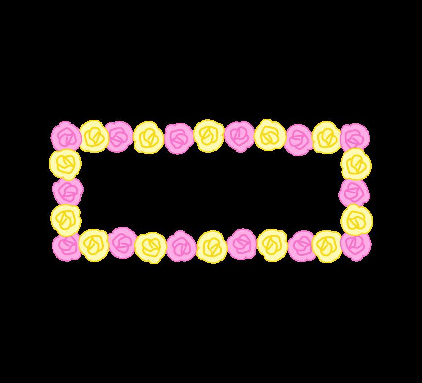 ピンクと黄色の紙花の横長看板のフレーム・枠イラスト
