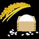 稲穂と枡に入ったお米のイラスト