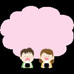 おにぎりを食べる子供とピンク色のもこもこフレーム・枠イラスト