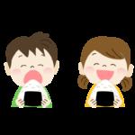 大きなおにぎりを食べる子供のイラスト