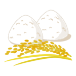 稲穂と白おにぎり・塩おにぎりのイラスト