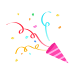 ピンクのパーティークラッカーのイラスト