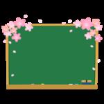 桜と黒板のフレーム・枠イラスト