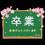 桜と黒板の卒業文字入りフレーム・枠イラスト