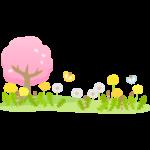 桜やたんぽぽやつくしと蝶々の春イラスト